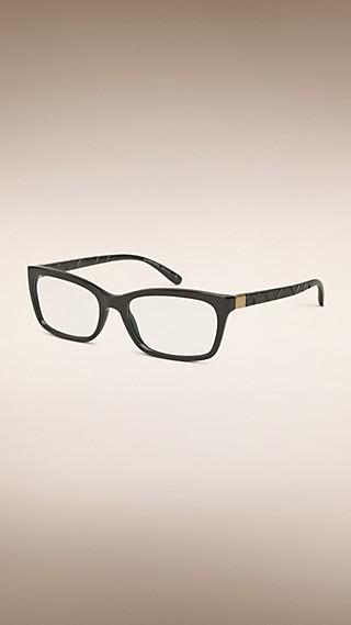 Monture rectangulaire pour lunettes de vue avec détails check