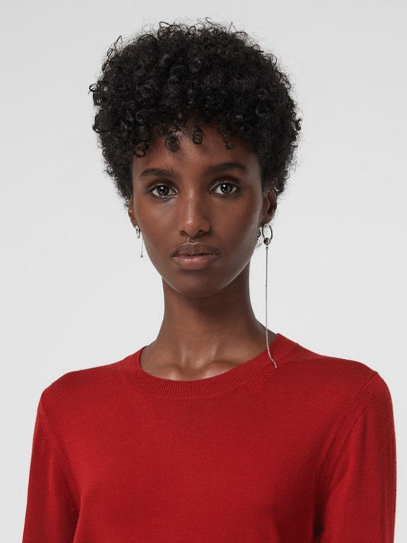 Check Detail Merino Wool Sweater in Parade Red - Women | Burberry United States - cell image 1