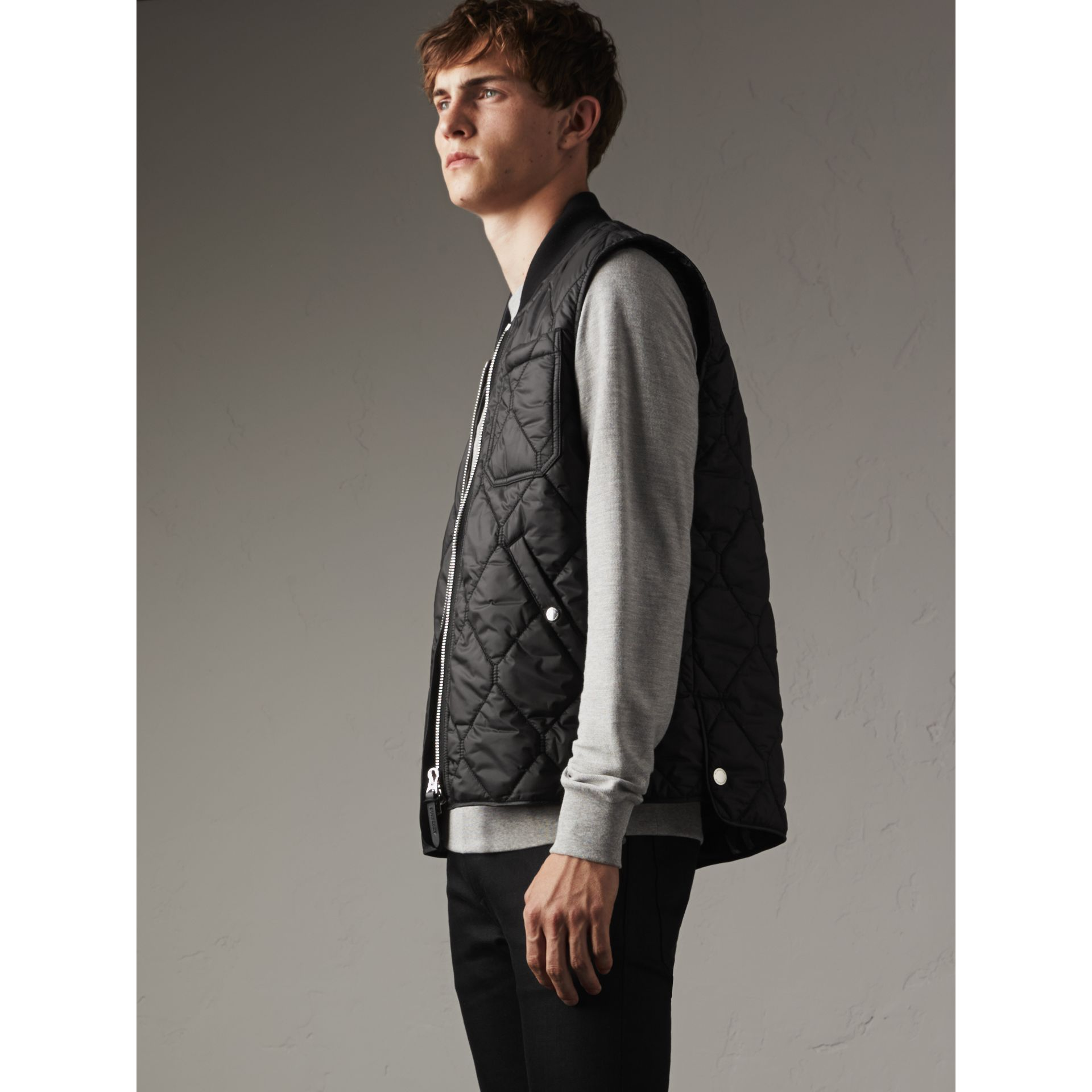 Diamond Quilted Gilet in Black - Men | Burberry - gallery image 1