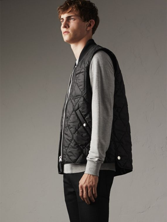 Diamond Quilted Gilet in Black