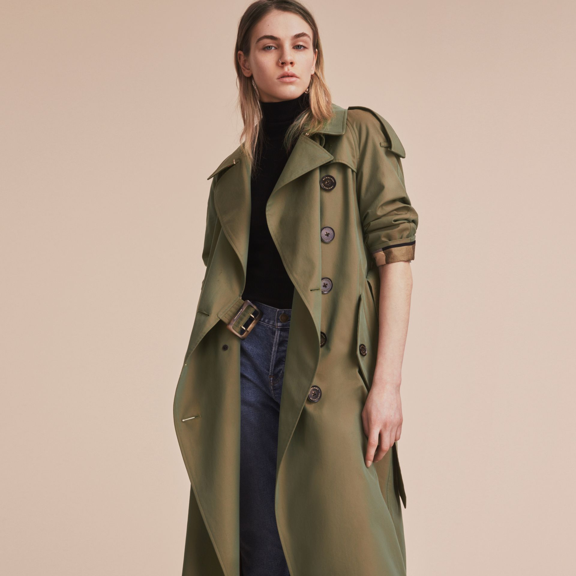 Tropical Gabardine Trench Coat in Bright Olive - Women | Burberry - gallery image 7