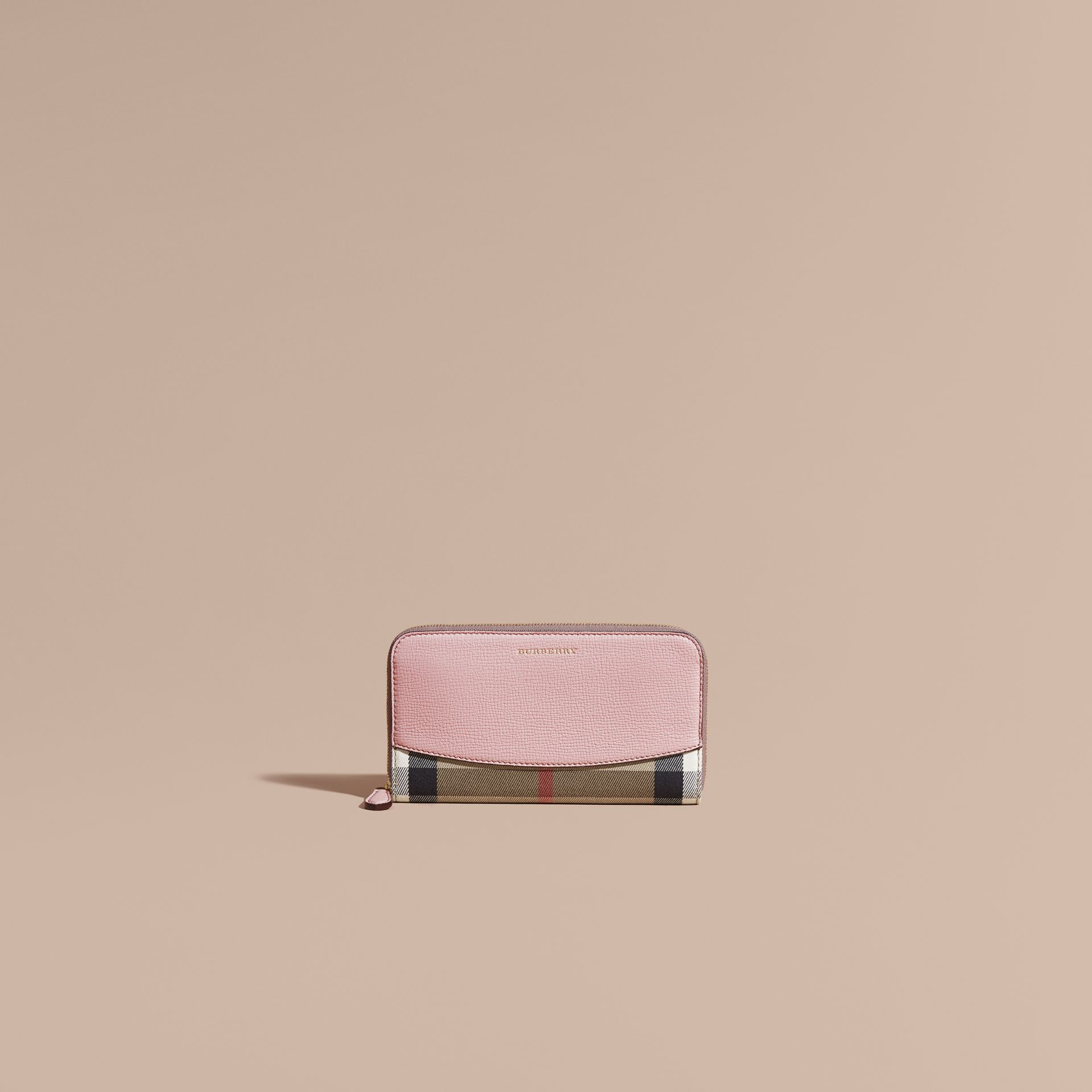 Pale orchid House Check and Leather Ziparound Wallet Pale Orchid - gallery image 2