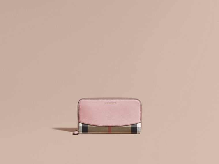 Pale orchid House Check and Leather Ziparound Wallet Pale Orchid - cell image 1