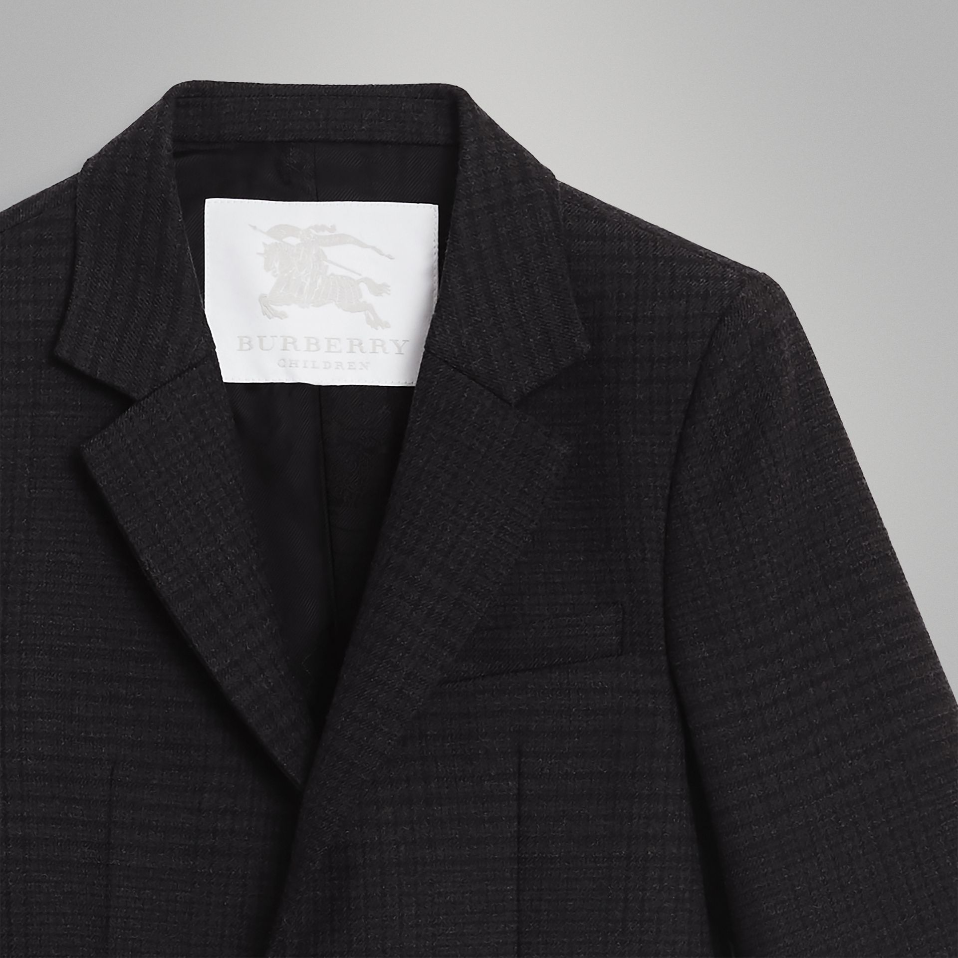 Prince of Wales Check Wool Blazer in Dark Grey | Burberry - gallery image 4
