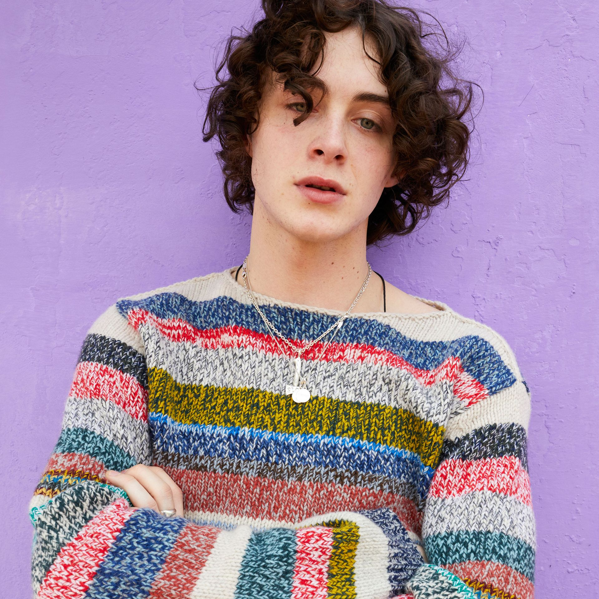 Striped Merino Wool Mouliné Sweater in Multicolour - Men | Burberry Australia - gallery image 4