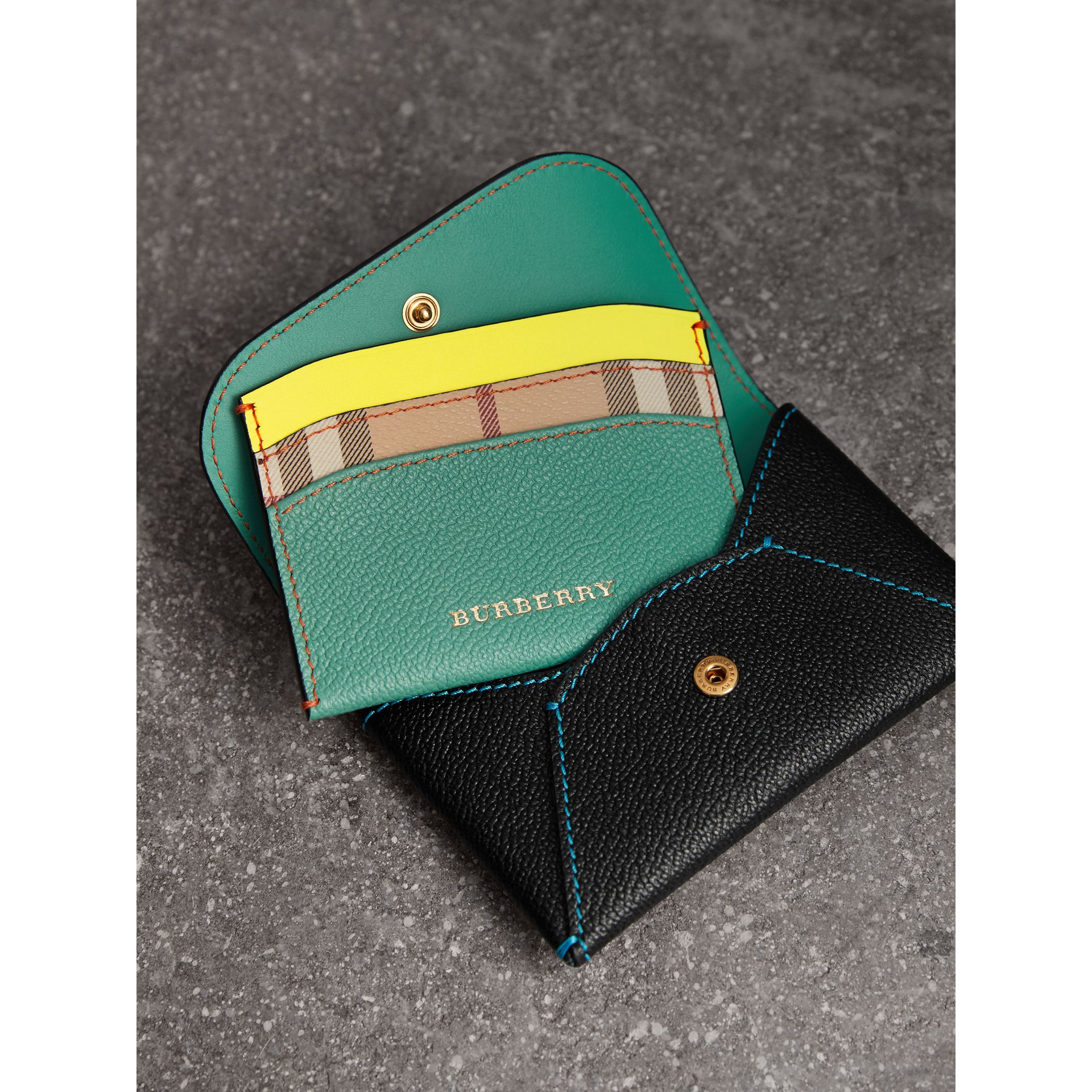 Leather Coin Case with Removable Card Compartment in Black/multicolour | Burberry - gallery image 3