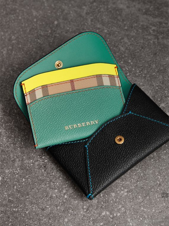 Leather Coin Case with Removable Card Compartment in Black/multicolour | Burberry - cell image 3