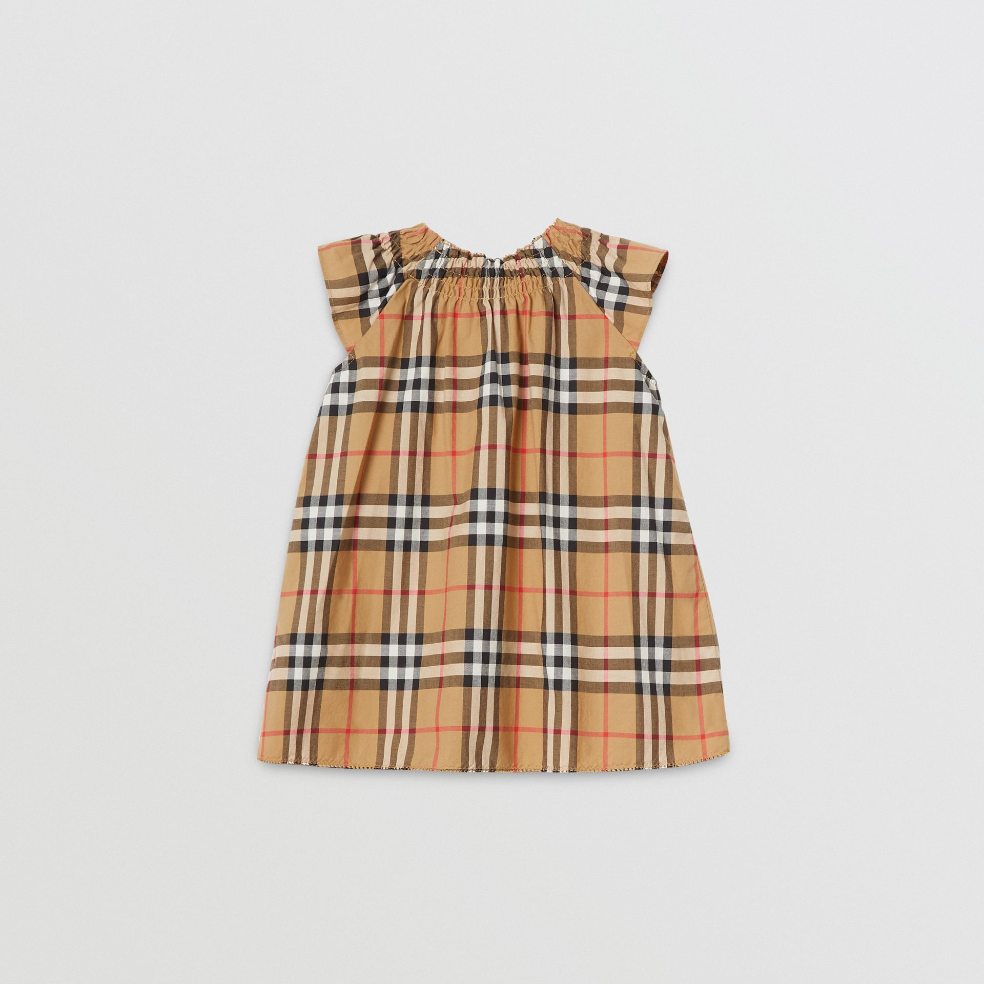 Smocked Vintage Check Cotton Dress in Antique Yellow - Children | Burberry - gallery image 3