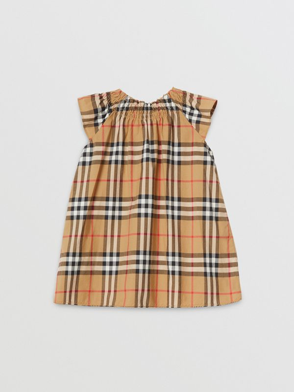 Robe en coton à motif Vintage check et smocks (Jaune Antique) - Enfant | Burberry Canada - cell image 3