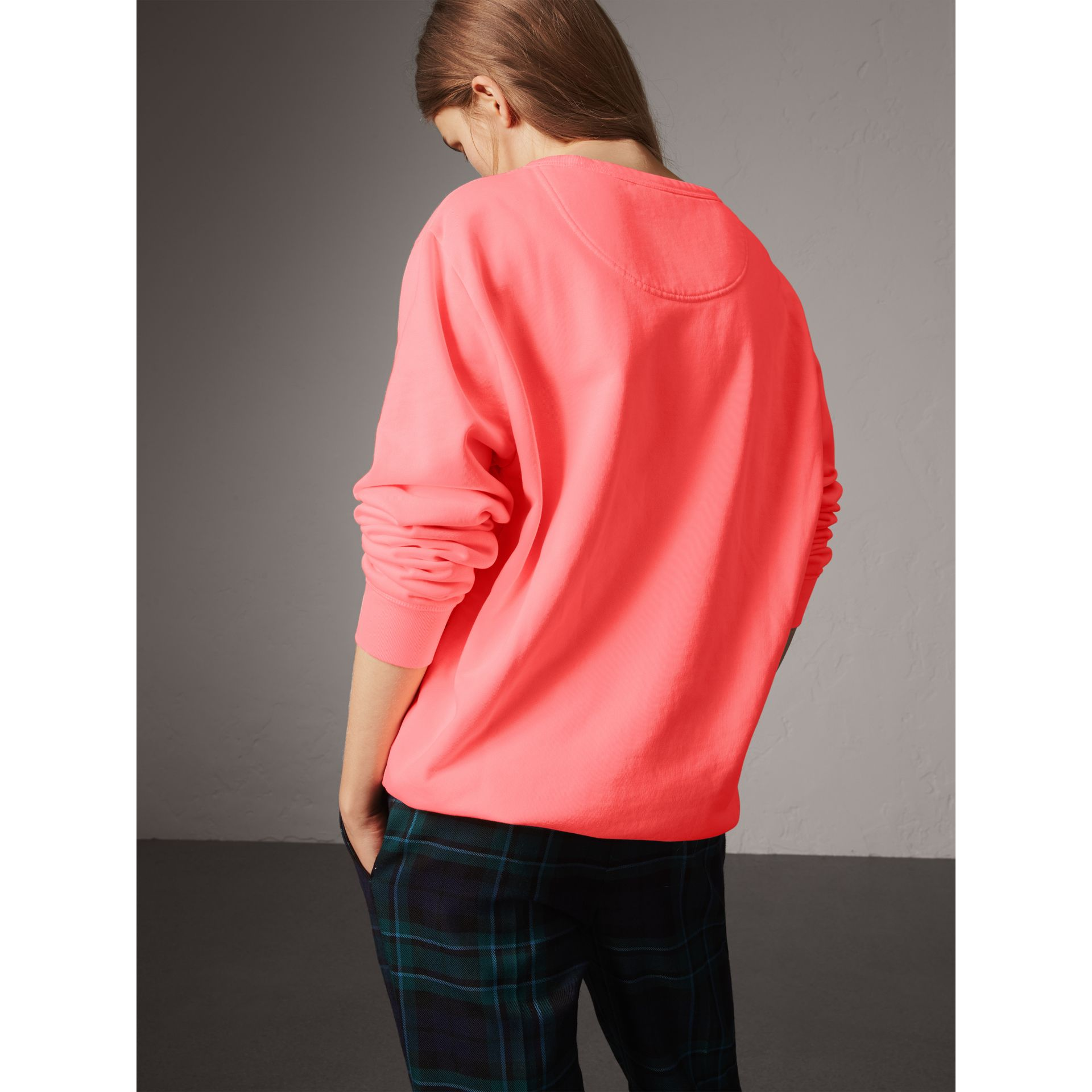 Doodle Print Cotton Sweatshirt in Bright Clementine - Women | Burberry - gallery image 2