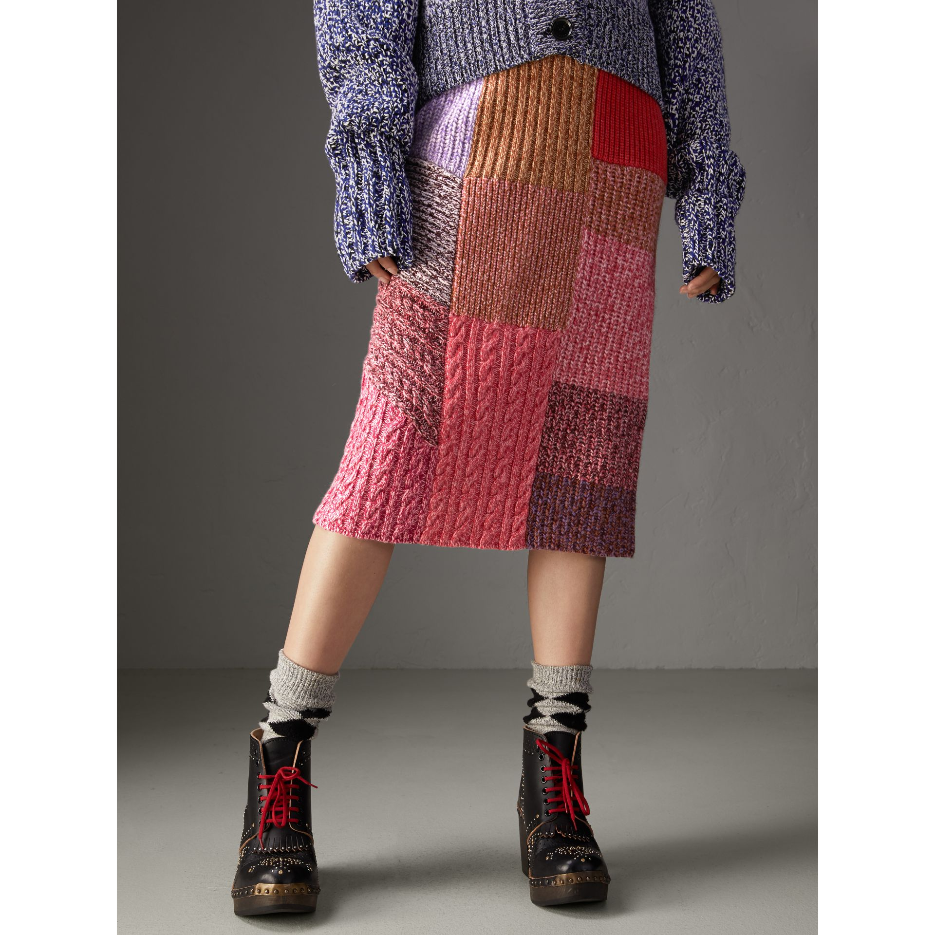 Cashmere-wool Mouliné Patchwork Skirt in Multicolour - Women | Burberry Canada - gallery image 4