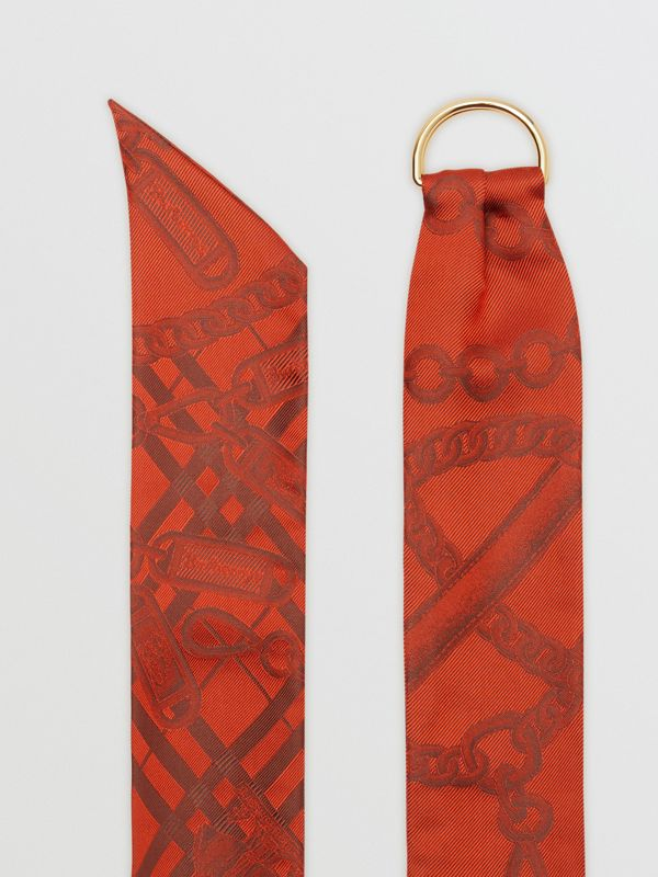 D-ring Detail Chain Silk Jacquard Skinny Scarf in Bright Red | Burberry - cell image 2