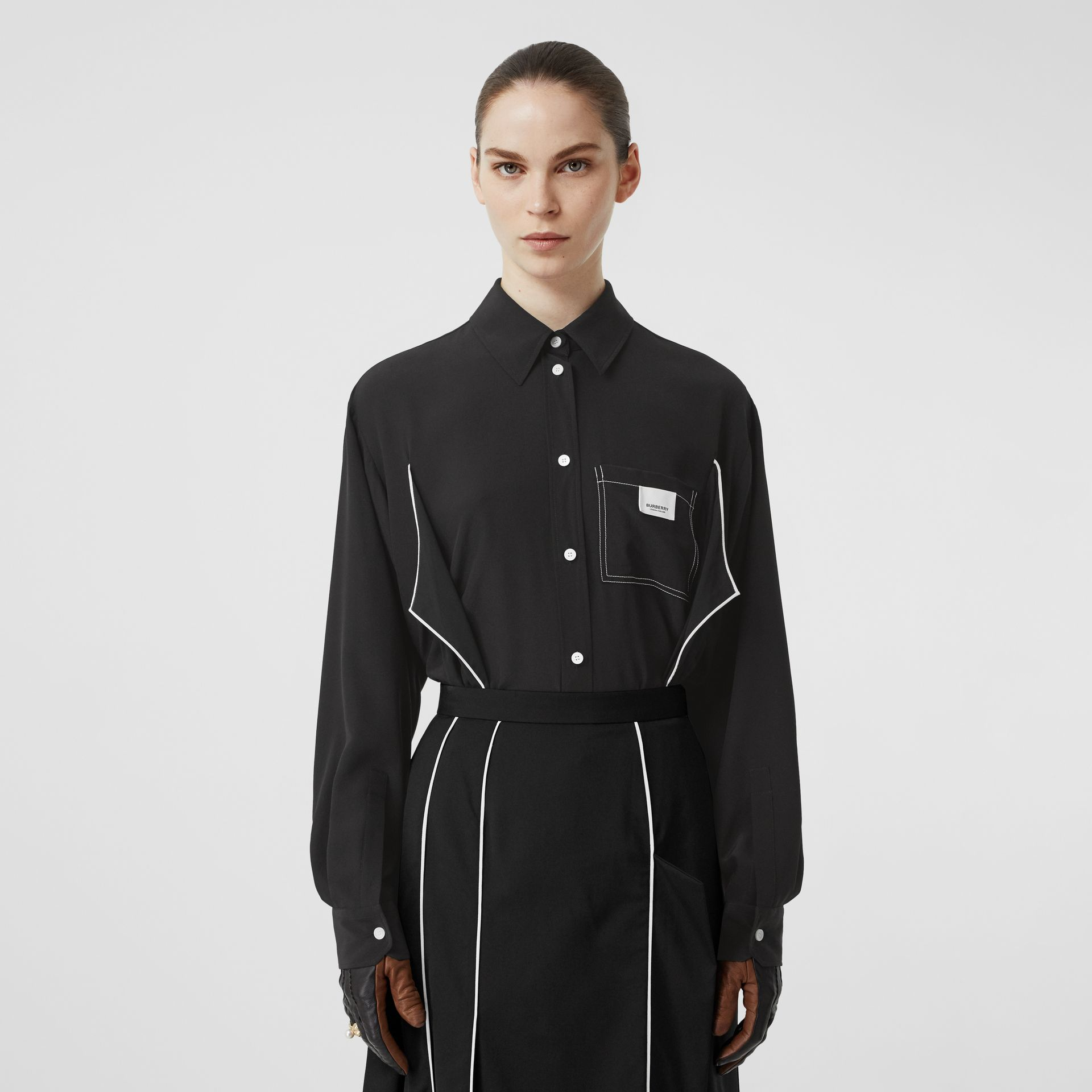 Piping Detail Silk Oversized Shirt and Tie Twinset in Black - Women | Burberry United Kingdom - gallery image 0
