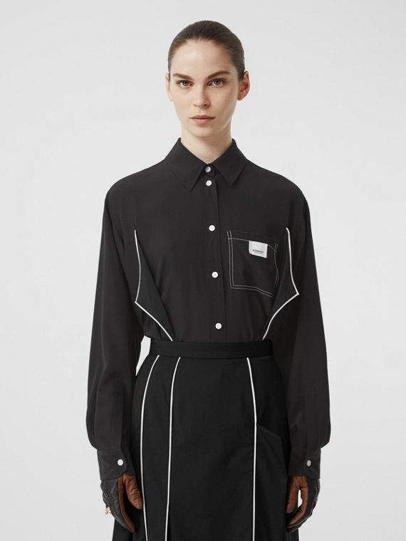 Piping Detail Silk Oversized Shirt and Tie Twinset in Black