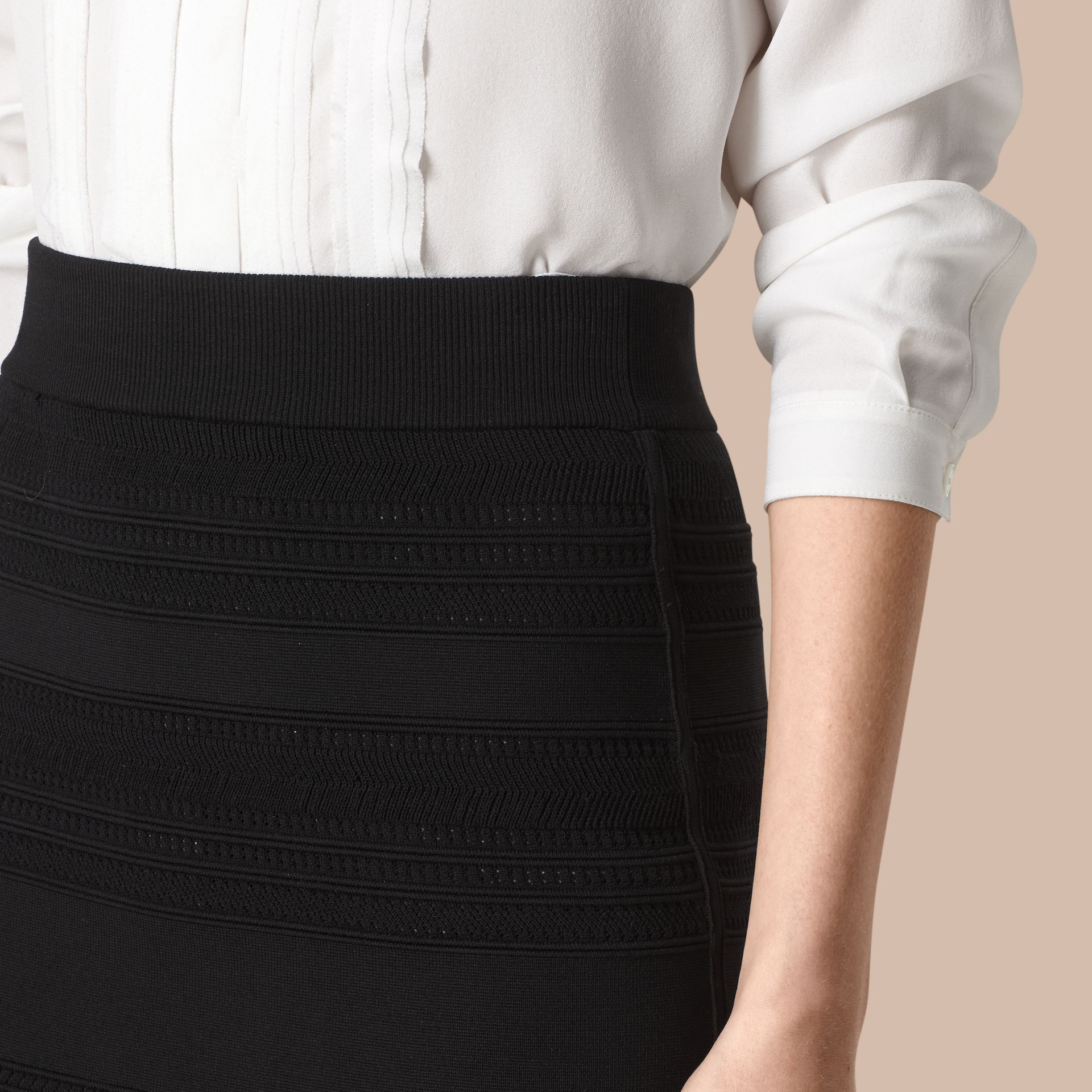 Black Striped Knitted Pencil Skirt - gallery image 4