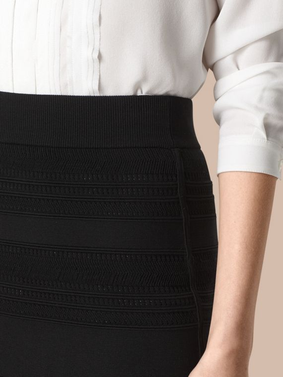 Black Striped Knitted Pencil Skirt - cell image 3
