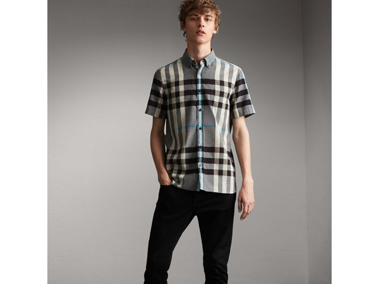 Button-down Collar Short-sleeve Check Cotton Shirt in Mist Grey - Men | Burberry - cell image 4