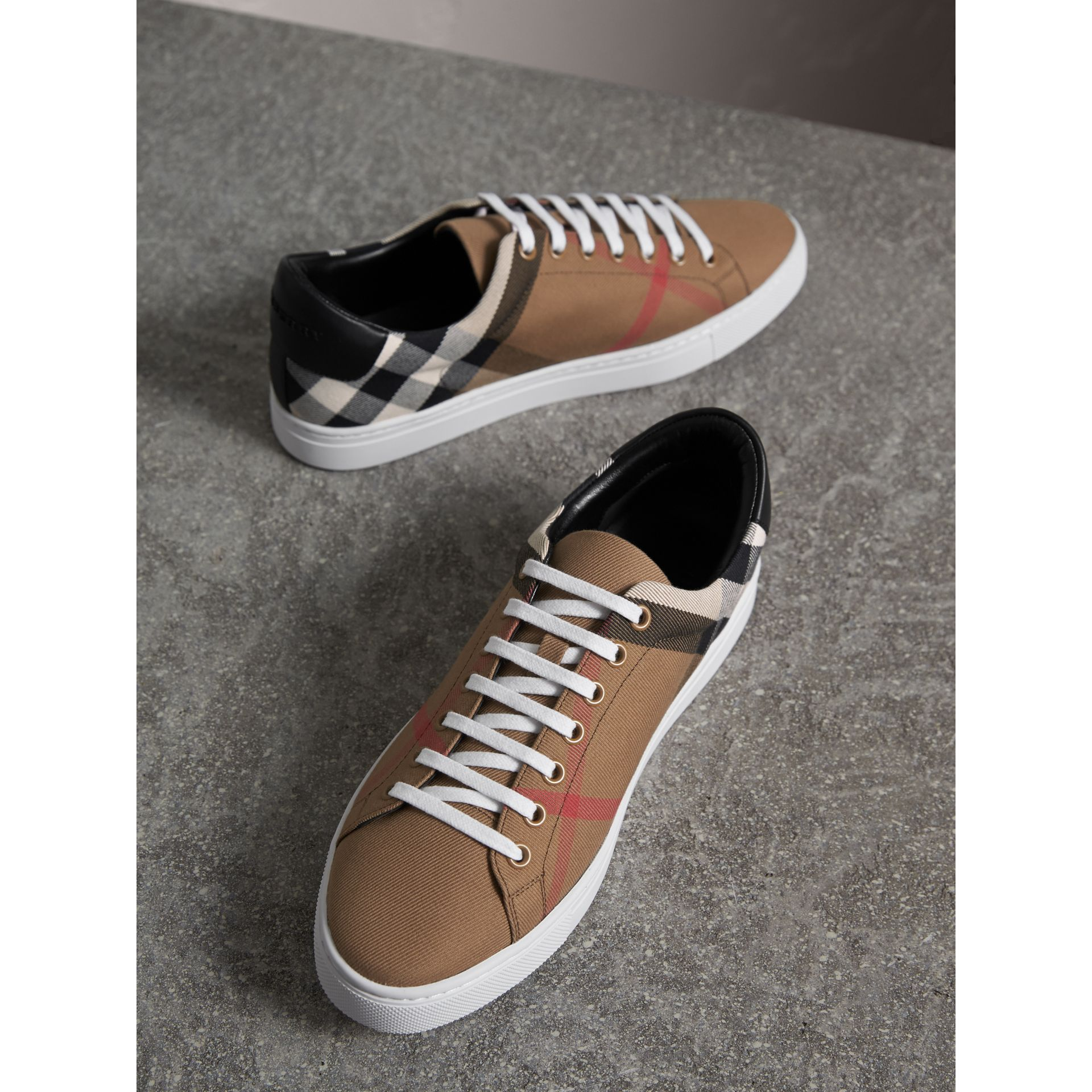 House Check Cotton and Leather Trainers - Men | Burberry - gallery image 5