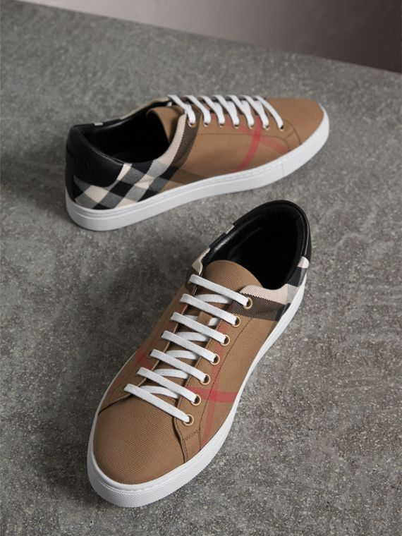 House Check Cotton and Leather Trainers - Men | Burberry