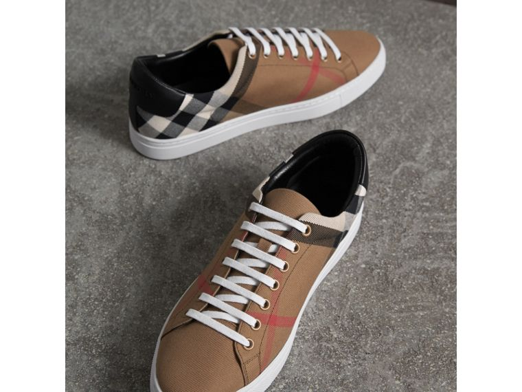 House Check Cotton and Leather Trainers - Men | Burberry - cell image 4