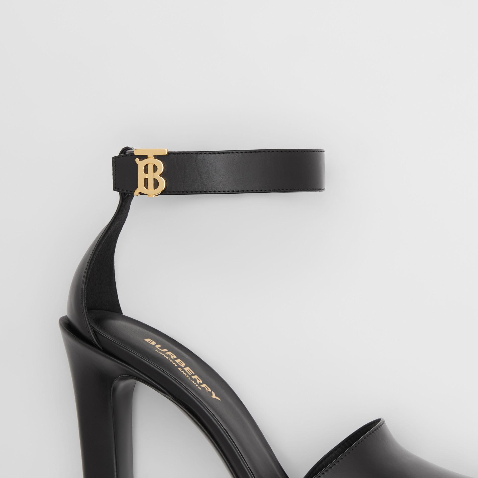 Monogram Motif Leather Peep-toe Sandals in Black - Women | Burberry - gallery image 5