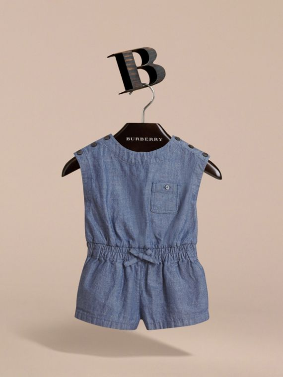 Sleeveless Cotton Chambray Playsuit - cell image 2