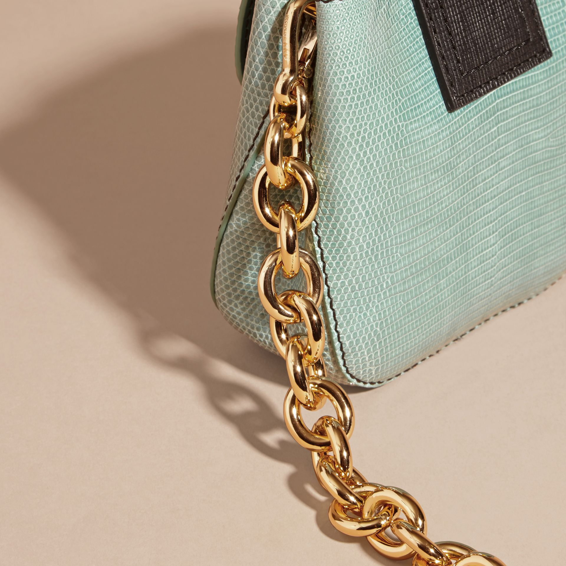 Dusty mint The Small Square Buckle Bag in Lizard - gallery image 5