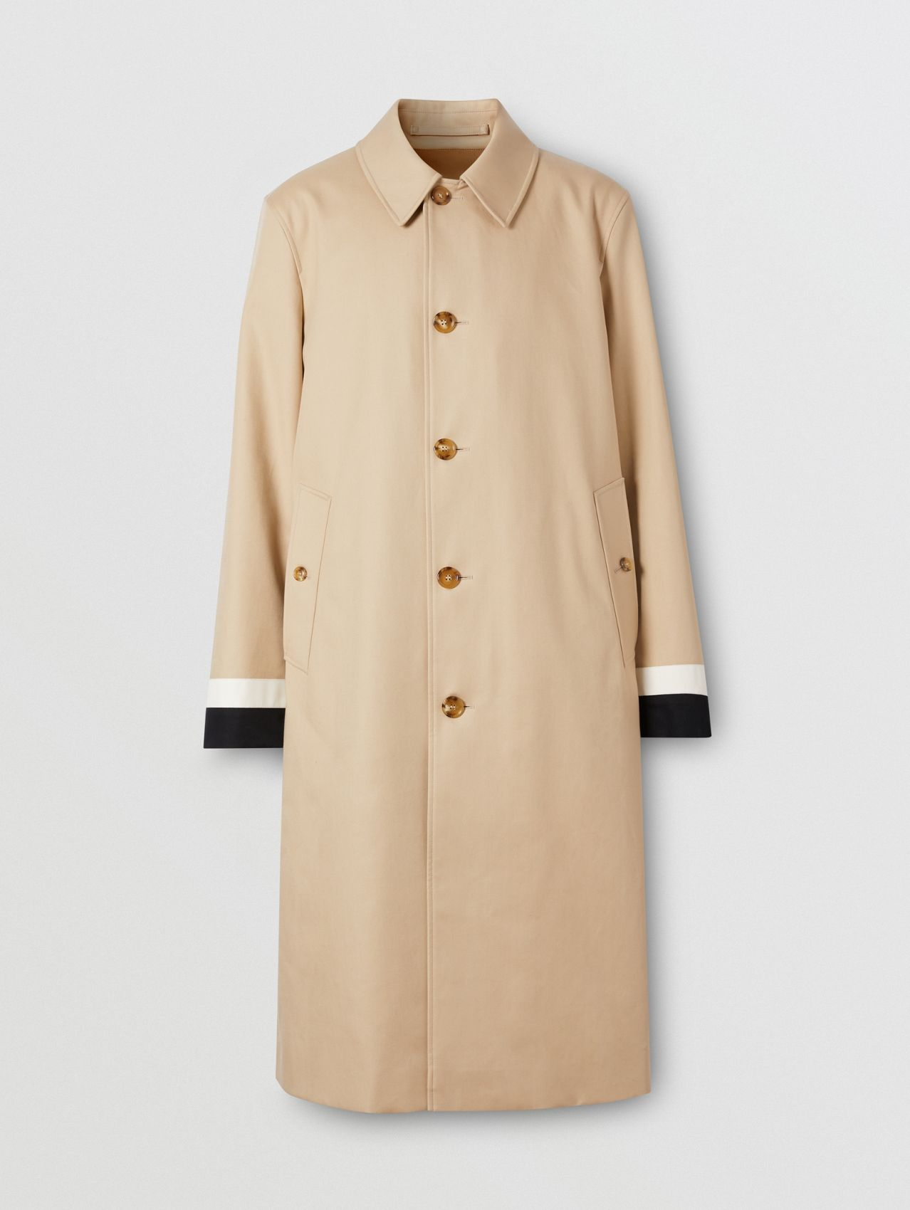 Stripe Detail Cotton Gabardine Car Coat in Soft Fawn