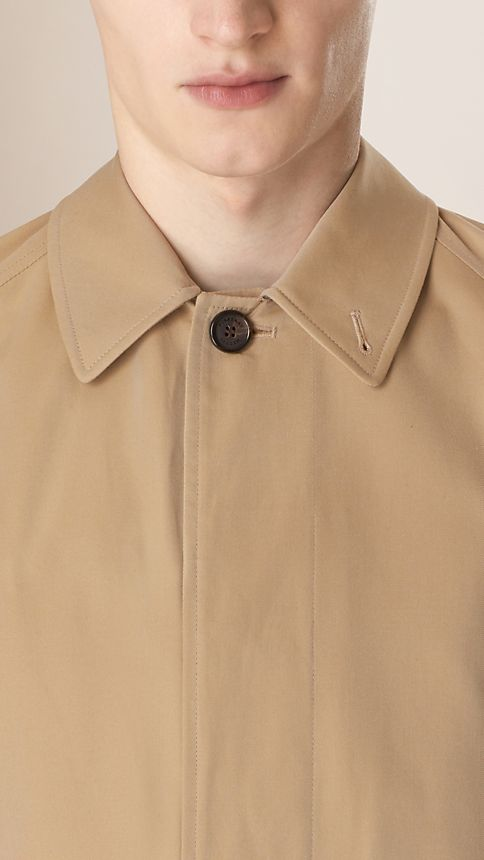 Honey Long Cotton Gabardine Car Coat Honey - Image 5