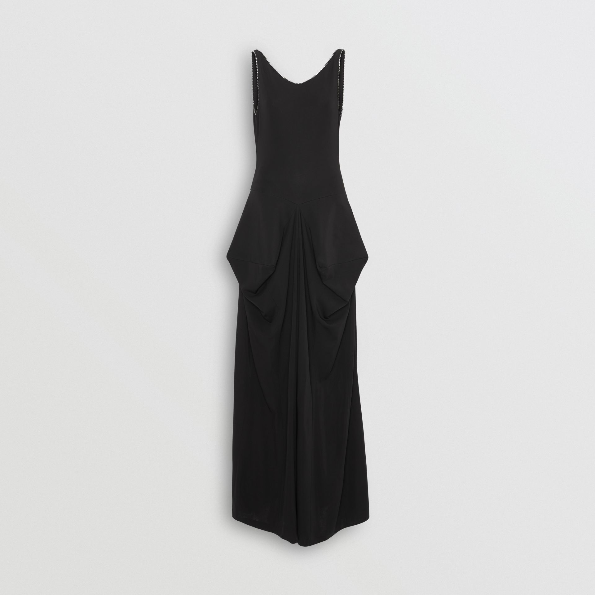Crystal Detail Stretch Jersey Gown in Black - Women | Burberry - gallery image 3