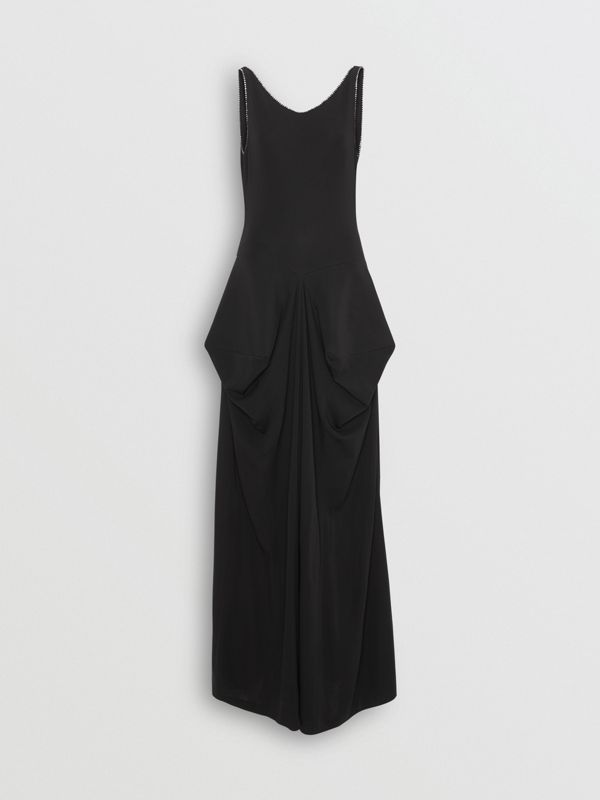 Crystal Detail Stretch Jersey Gown in Black - Women | Burberry - cell image 3
