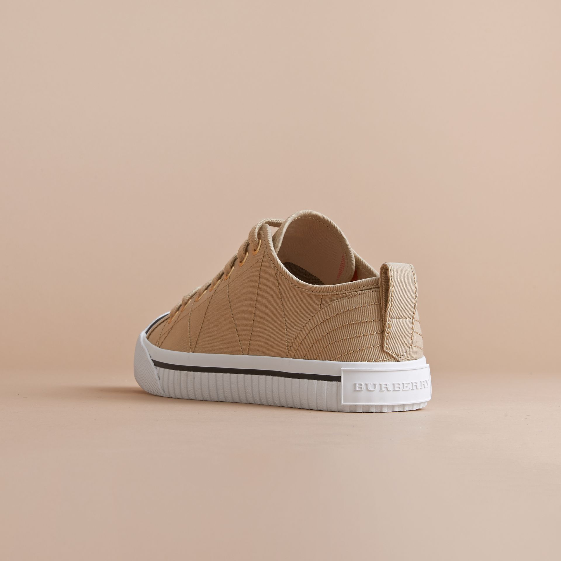 Topstitched Cotton Gabardine Trainers in Honey - Women | Burberry - gallery image 3