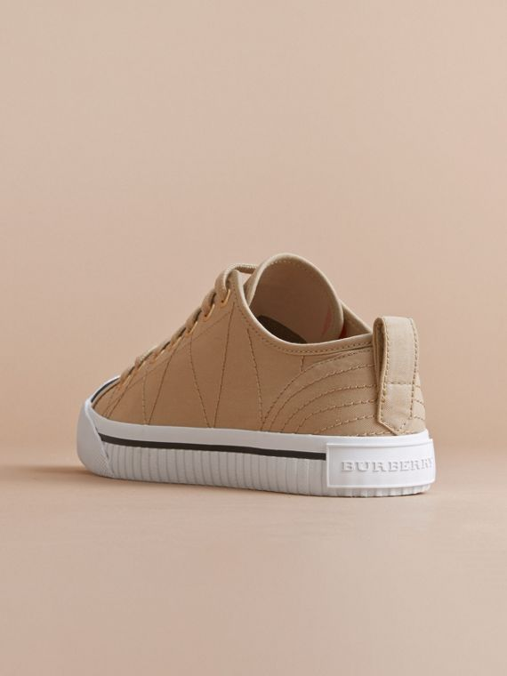 Topstitched Cotton Gabardine Trainers in Honey - Women | Burberry - cell image 2