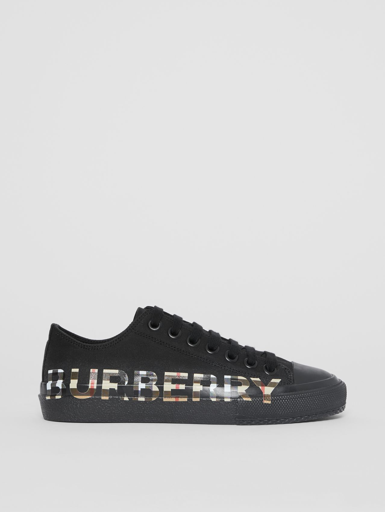 Vintage Check Logo Print Cotton Gabardine Sneakers in Black/archive Beige