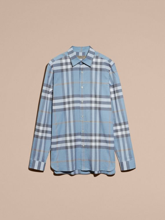 Check Cotton Oxford Shirt Cerulean Blue - cell image 3