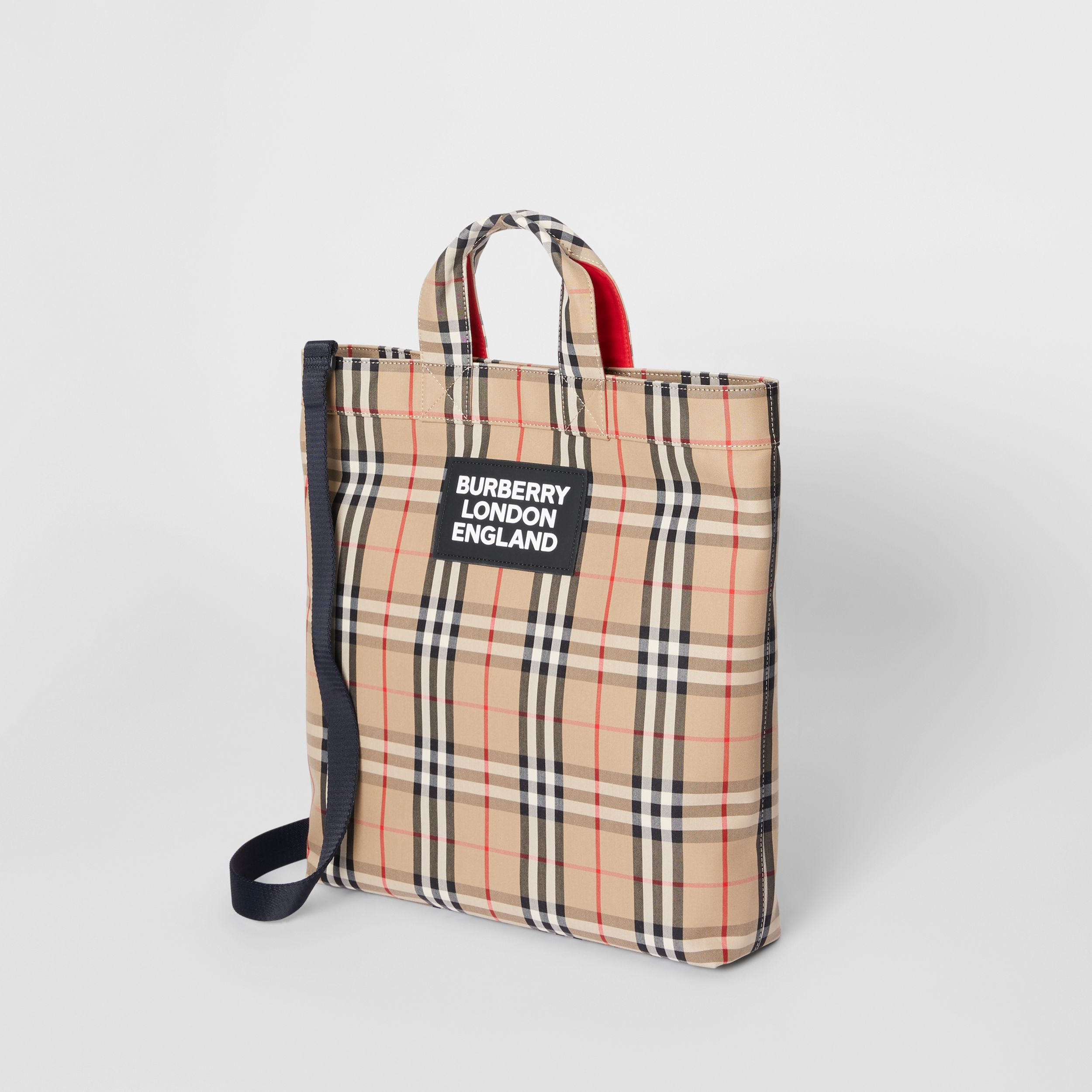 Logo Appliqué Vintage Check Cotton Blend Tote in Archive Beige - Men | Burberry - 4