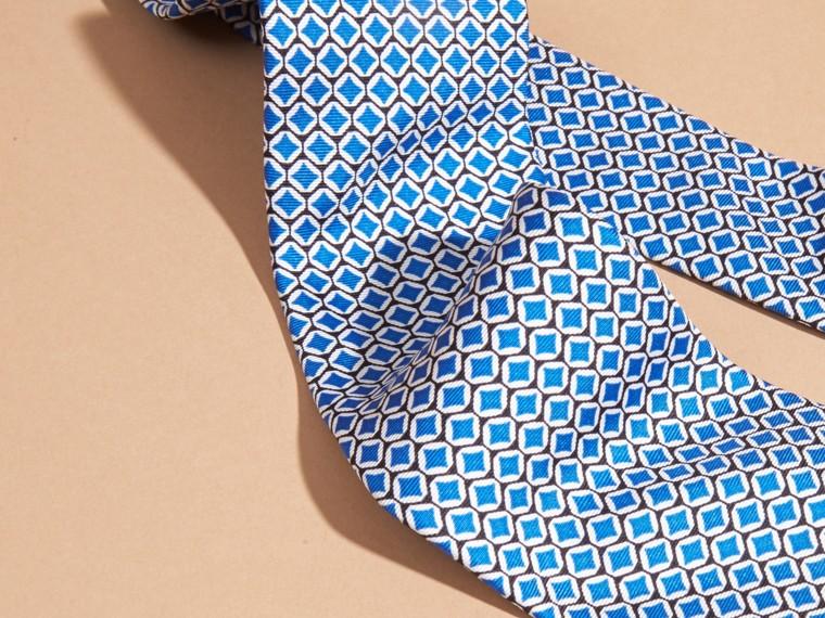 Bright hydrangea blue Modern Cut Geometric Print Silk Tie - cell image 1