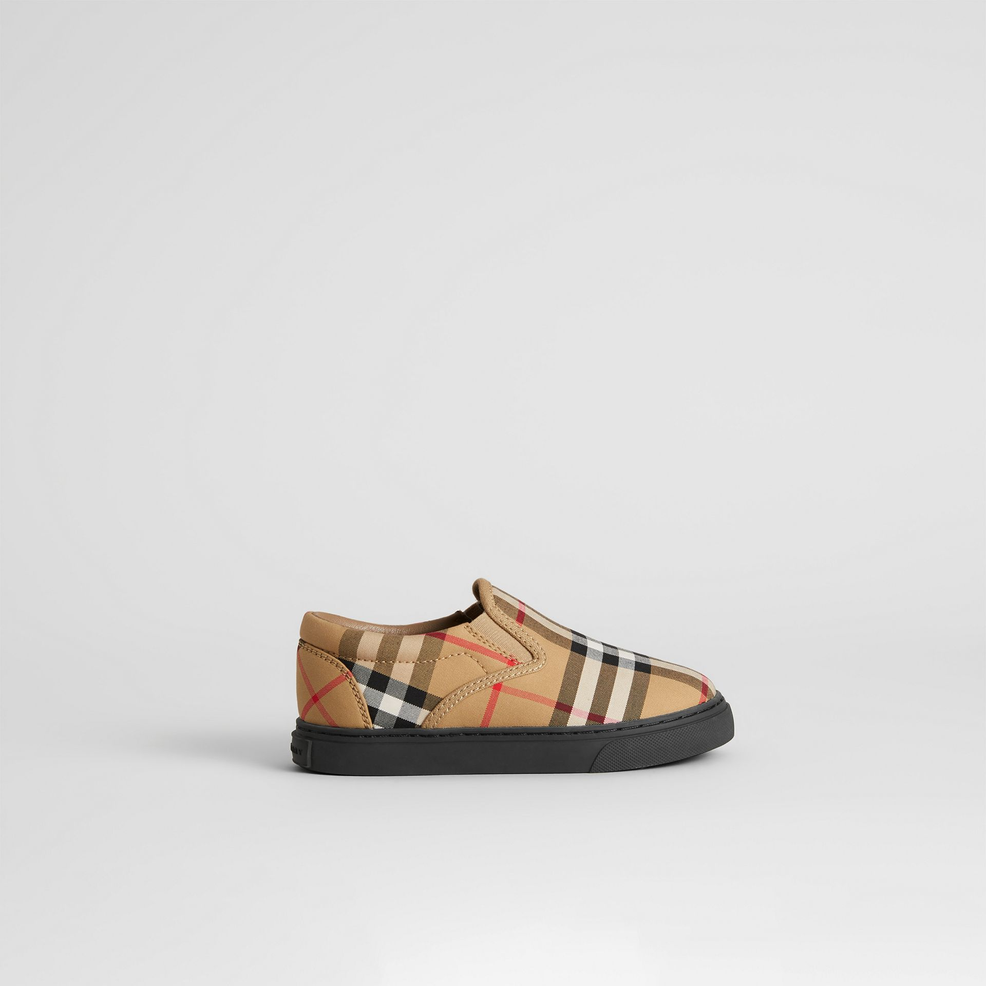 Vintage Check and Leather Slip-on Sneakers in Antique Yellow/black - Children | Burberry - gallery image 3