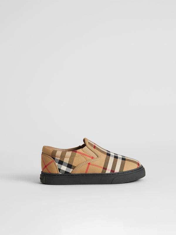 Vintage Check and Leather Slip-on Sneakers in Antique Yellow/black - Children | Burberry - cell image 3