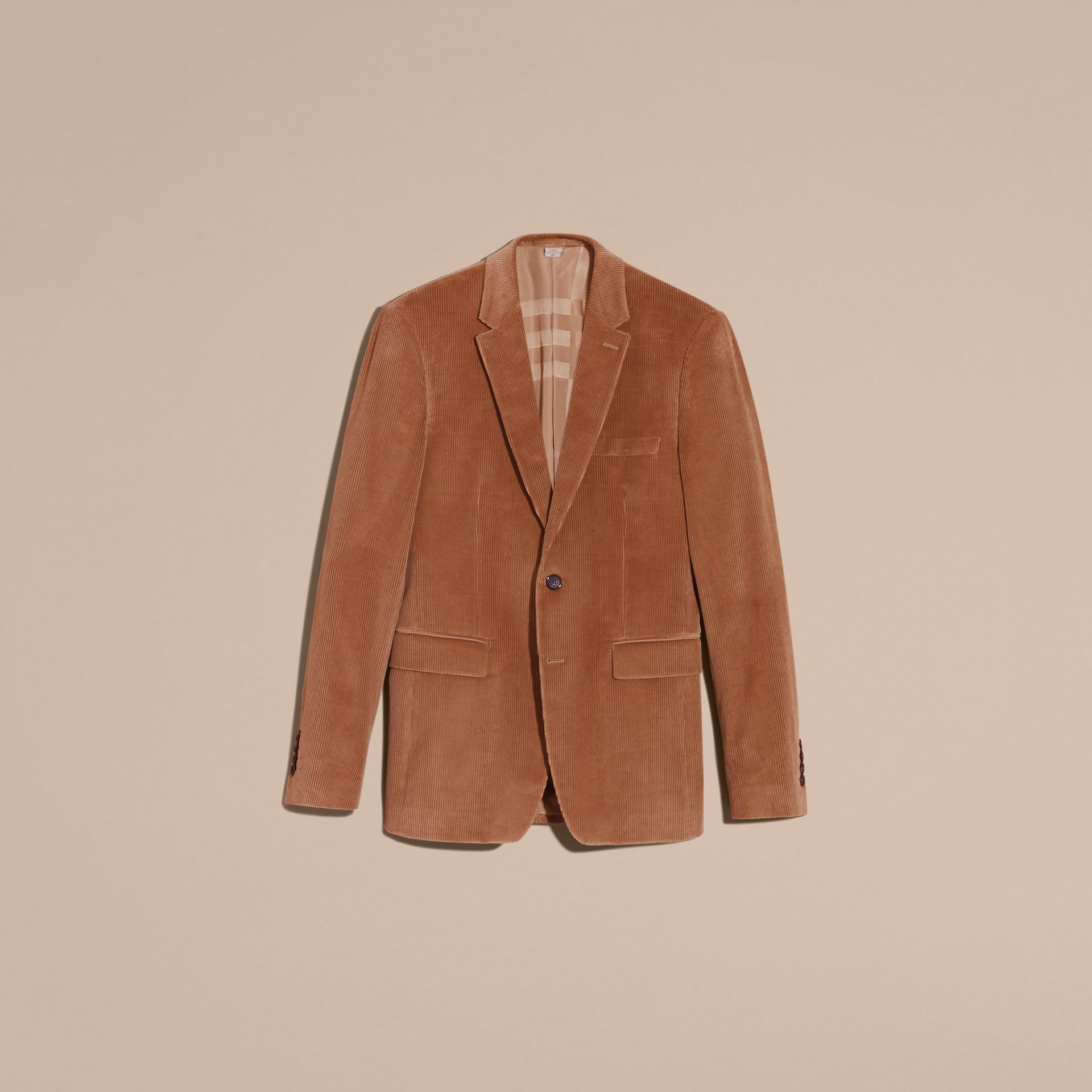 Camel Slim Fit Cotton Corduroy Jacket Camel - gallery image 4