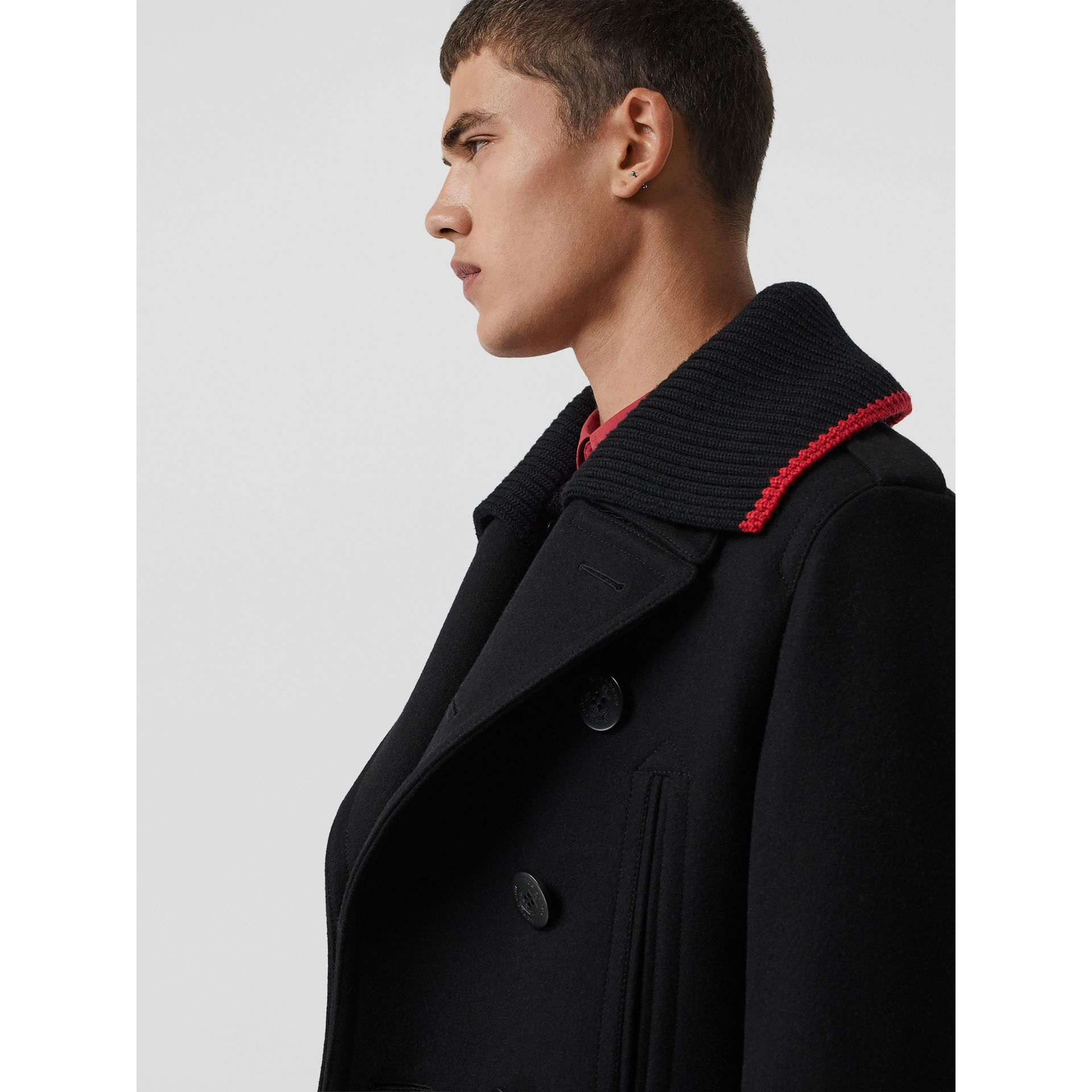 Detachable Knit Collar Wool Cashmere Pea Coat in Black - Men | Burberry United Kingdom - gallery image 1