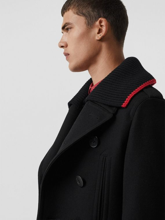 Detachable Knit Collar Wool Cashmere Pea Coat in Black