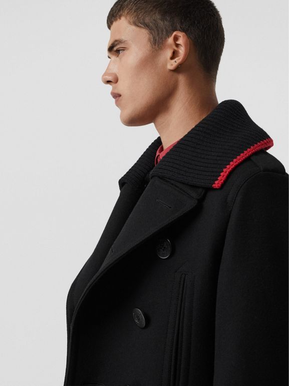 Detachable Knit Collar Wool Cashmere Pea Coat in Black - Men | Burberry United States - cell image 1