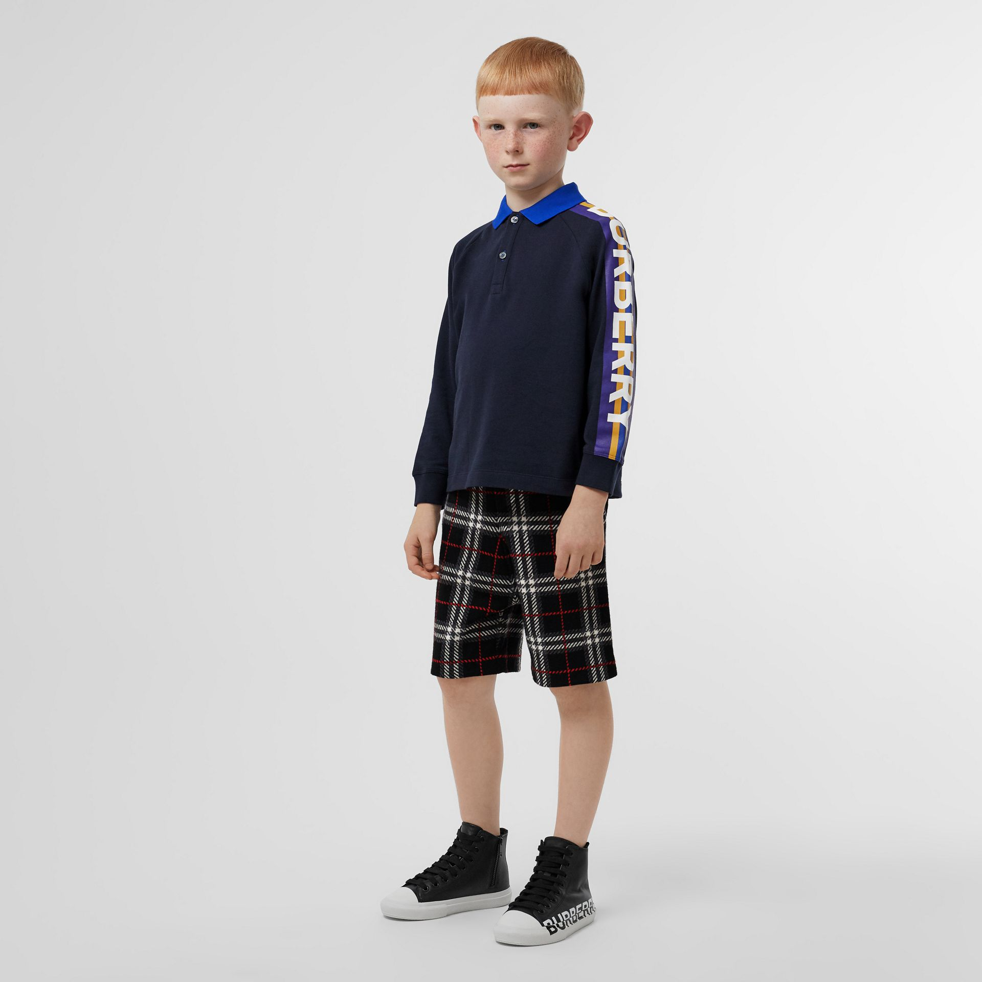 Long-sleeve Logo Print Cotton Polo Shirt in Navy - Children | Burberry - gallery image 2
