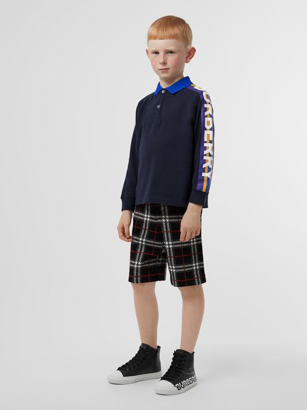 Long-sleeve Logo Print Cotton Polo Shirt in Navy - Children | Burberry - cell image 2