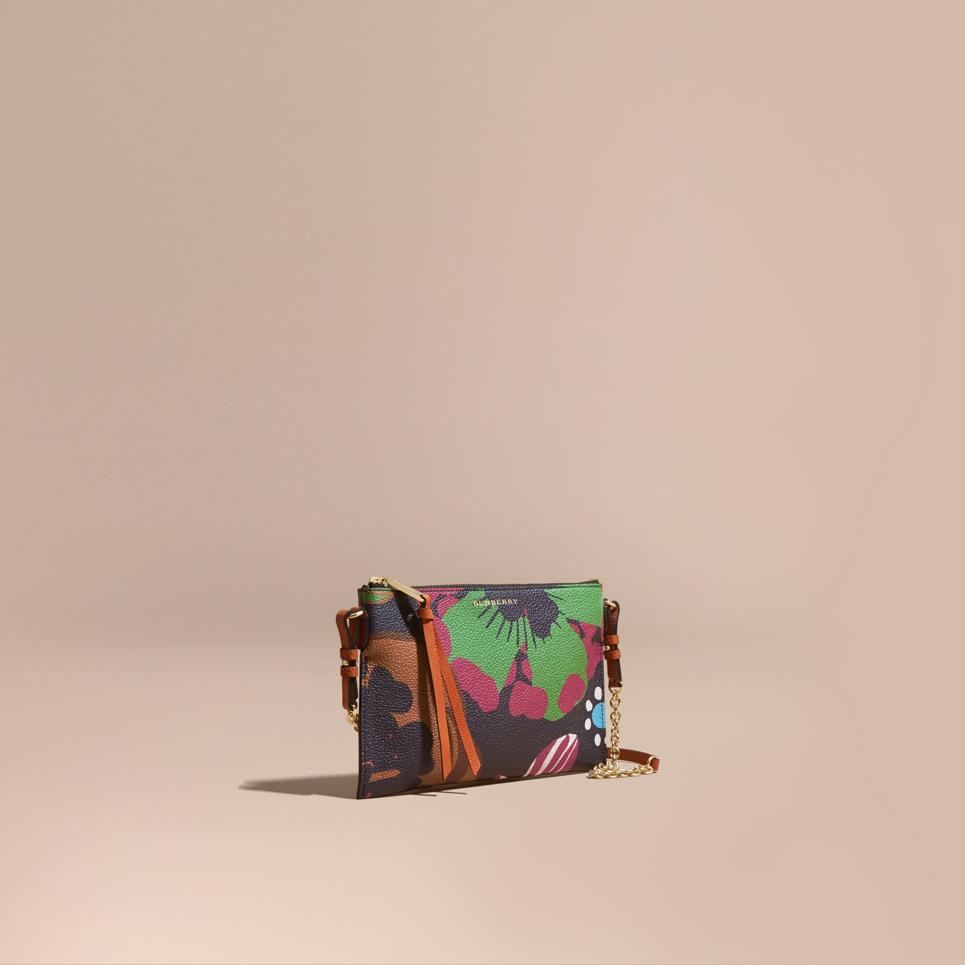 Floral Print Leather Clutch Bag in Navy - gallery image 1