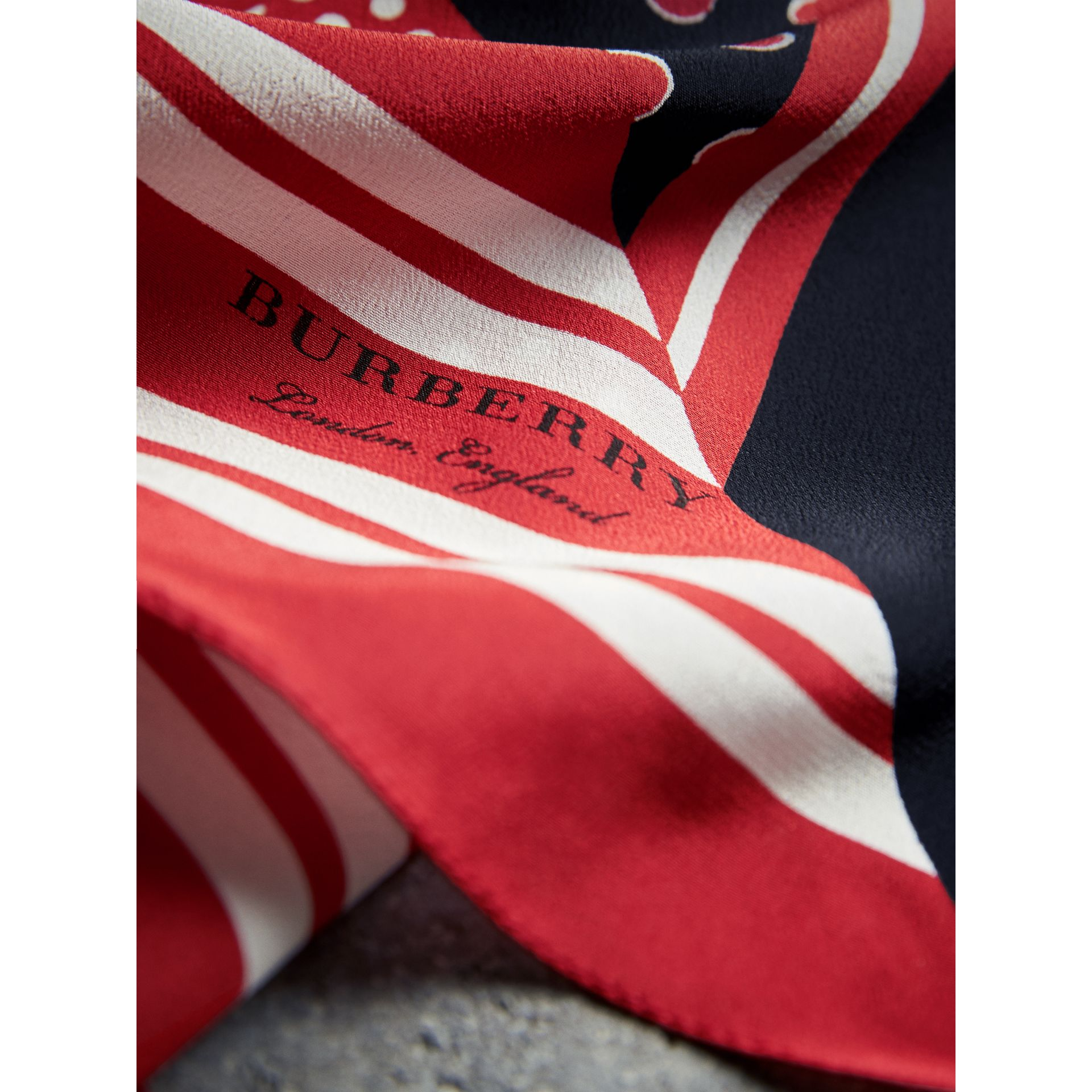 Dot and Stripe Print Silk Square Scarf in Military Red | Burberry Singapore - gallery image 2