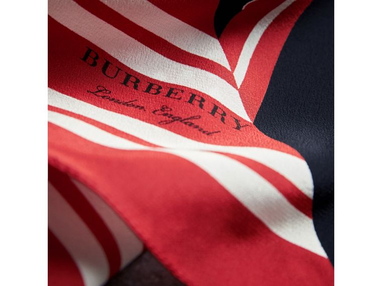 Dot and Stripe Print Silk Square Scarf in Military Red | Burberry - cell image 1