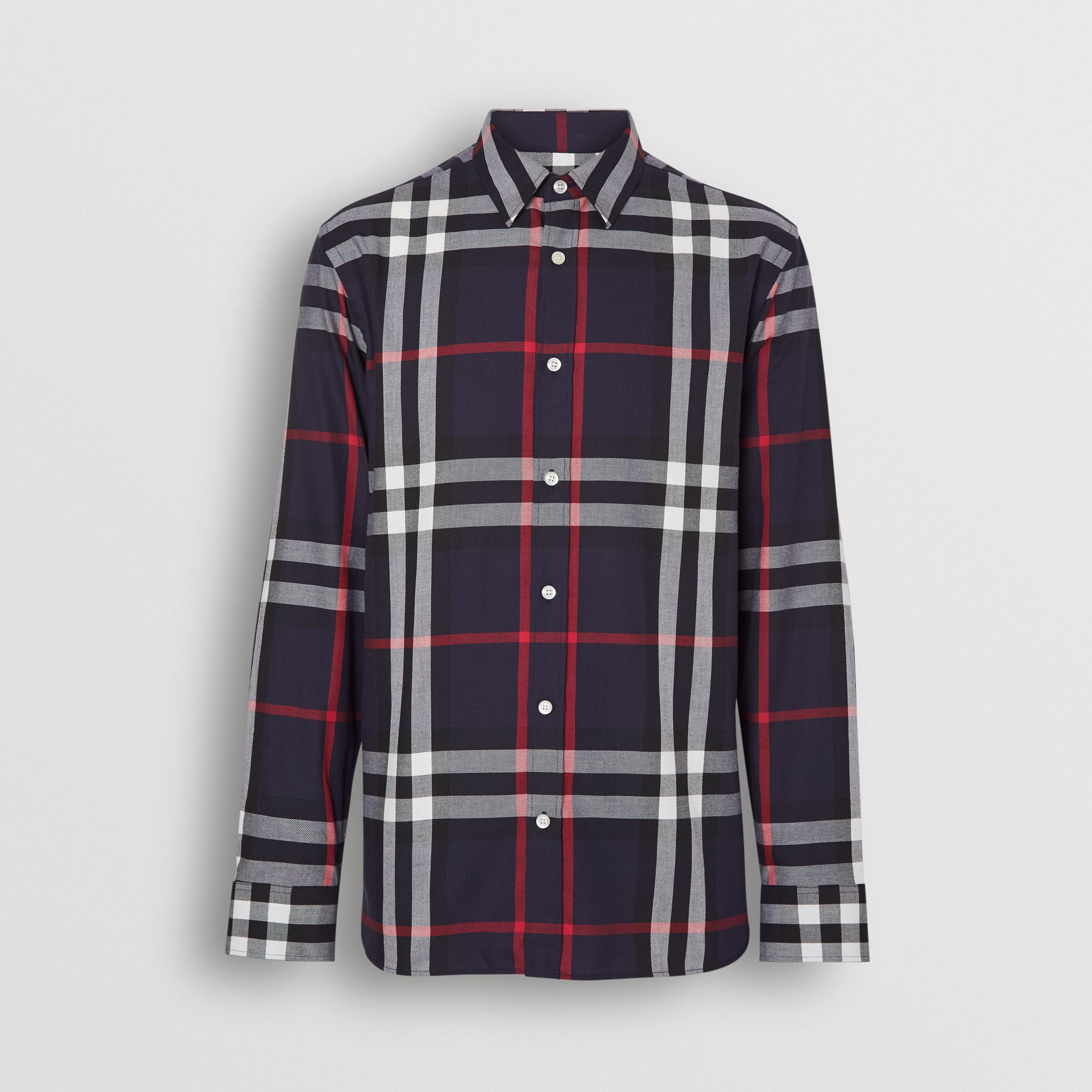 Check Cotton Flannel Shirt in Navy - Men | Burberry Canada - gallery image 3