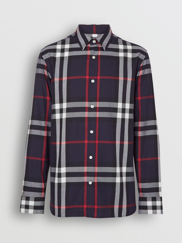 Check Cotton Flannel Shirt in Navy - Men | Burberry Hong Kong - cell image 3